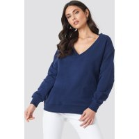 NA-KD Basic V-neck Basic Sweater - Blue