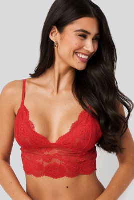 NA-KD Lingerie NA-KD Lingerie Romantic Wide Lace Bralette - Red