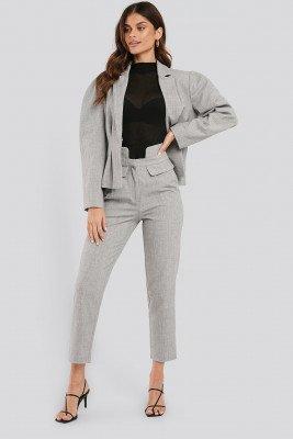 NA-KD Classic High Waist Detailed Pants - Grey