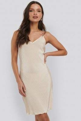 NA-KD Party NA-KD Party Pleated Slip Dress - Beige