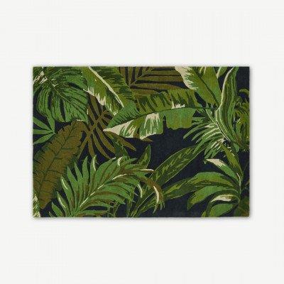 MADE.COM Jangala bobruinisch wollen vloerkleed, 160 x 230cm, middernachtblauw en groen