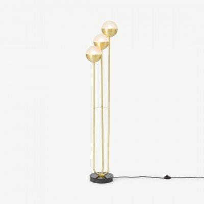 MADE.COM Cher staande lamp, getextureerd glas en messing