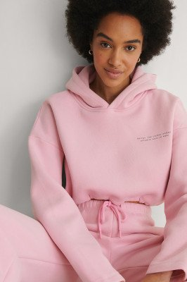 Beyyoglu Beyyoglu Crop Sweatshirt Met Capuchon - Pink