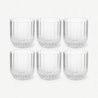 MADE.COM Hollie set van 6 geribbelde glazen, doorzichtig