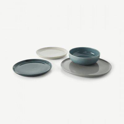 MADE.COM Deja 12-delig servies, grijstinten en blauw