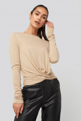 NA-KD NA-KD Front Knot Long Sleeve Top - Beige