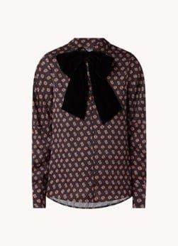 Maje Maje Camilla blouse van satijn met afneembare fluwelen strik