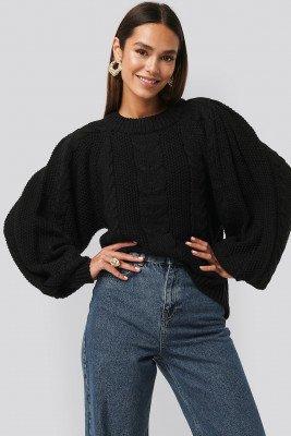 Tina Maria x NA-KD Tina Maria x NA-KD Chunky Cable Knitted Sweater - Black