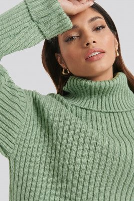 NA-KD NA-KD Ribbed Knitted Turtleneck Sweater - Green