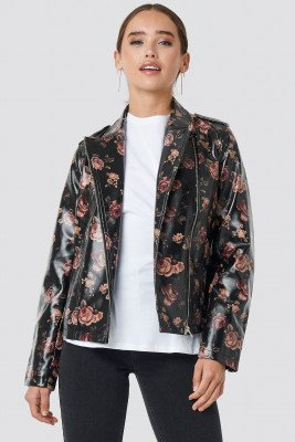 NA-KD Rose Printed PU Short Jacket - Black