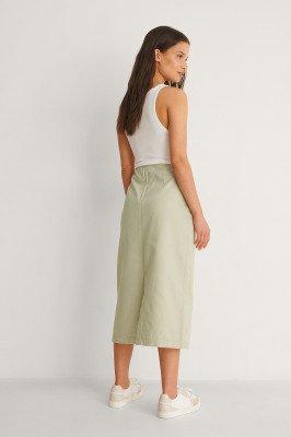 NA-KD Trend NA-KD Trend Organisch Jeans Midirok Met Yoke Aan De Voorkant - Green