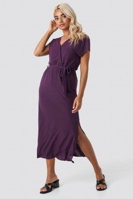 Trendyol Trendyol Belt Detailed Midi Dress - Purple