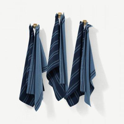 MADE.COM Soedahl set van 6 theedoeken, 100% katoen, indigoblauw