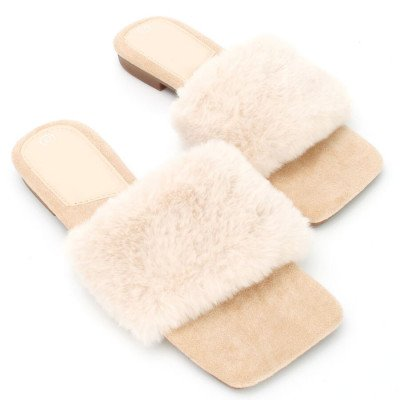 ComegetFashion FLUFFY SLIPPERS BEIGE