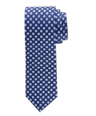 Profuomo Profuomo heren blauwe klassieke gebloemde zijden stropdas