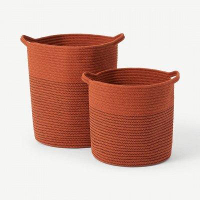 MADE.COM Toro set van 2 grote opbergmanden met handvatten, gebrand oranje
