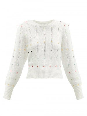 Joostricot - Beaded Cable-knit Cotton-blend Sweater - Womens - White
