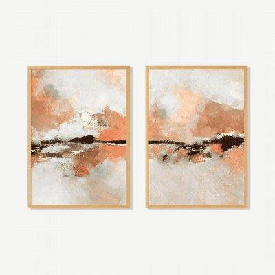 MADE.COM Dungeness Horizon, set van 2 ingelijste prints, door Kimberly Godfrey, A3