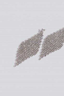 NA-KD Accessories Oversize Rhinestone Rhombus Earrings - Silver