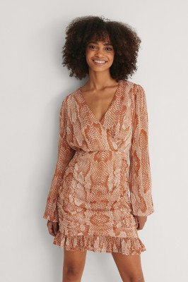 NA-KD NA-KD Gerecycleerd Ingerimpelde Doorzichtige Mini-jurk - Multicolor