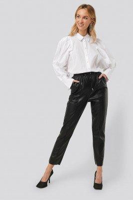 NA-KD NA-KD Drawstring PU Seam Detail Pants - Black