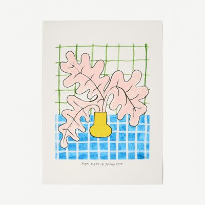 MADE.COM The Poster Club, Pink Plant in Yellow Vase, print door Madelen Moellard, 70 x 100 cm