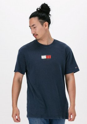 Tommy Jeans Donkerblauwe Tommy Jeans T-shirt Tjm Vintage Flag Print Tee