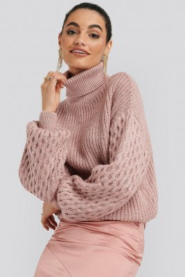 NA-KD Trend NA-KD Trend Sleeve Detailed Knitted Polo Sweater - Pink