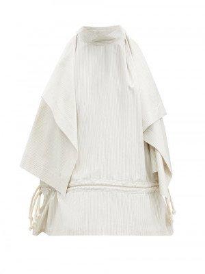 Matchesfashion Lemaire - Drawstring-waist Draped Cotton-blend Poplin Top - Womens - Grey White