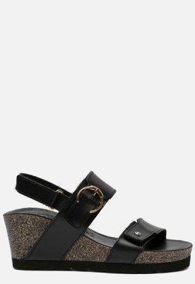 Panama Jack Panama Jack Velvet B1 sandalen met sleehak zwart