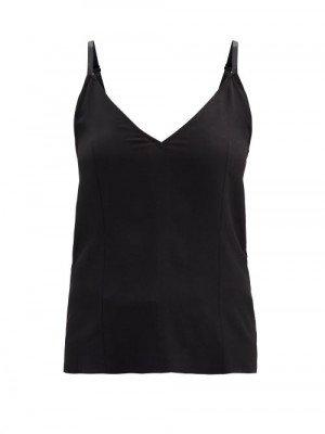Matchesfashion Raey - V-neck Silk Crepe De Chine Cami Top - Womens - Black