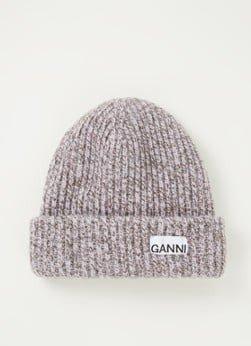 Ganni Ganni Muts in wolblend met logo