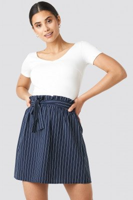 NA-KD NA-KD Striped Tied Waist Skirt - Blue