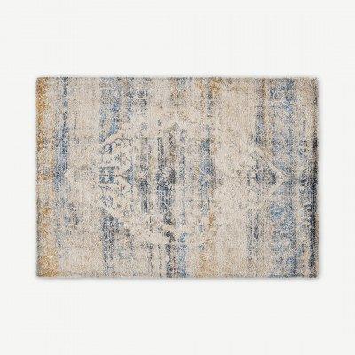 MADE.COM Ilyass vloerkleed, Large 160 x 230cm, donkerblauw en antiekgoud