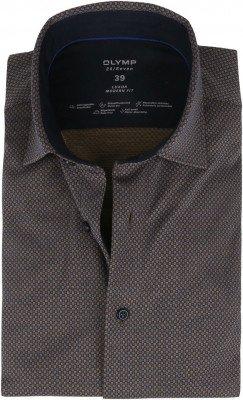 Olymp OLYMP Luxor Jersey Stretch Overhemd 24/Seven Oker