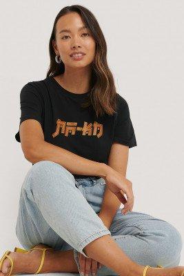 NA-KD T-Shirt Met Na-Kd Print - Black