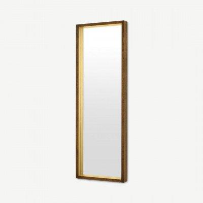 MADE.COM Emsworth staande spiegel, 40 x 120 cm, mangohout en messing