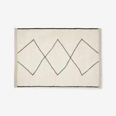 MADE.COM Fifie wollen vloerkleed in Berber stijl, groot, 160 x 230 cm, roomwit