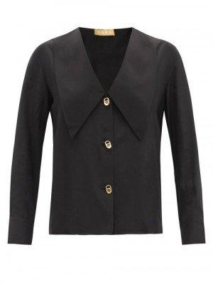 Matchesfashion S.a.r.k - Statuesque Sailor-collar Silk-satin Shirt - Womens - Black
