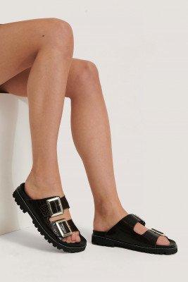 NA-KD Shoes Chunky Leren Sandalen Met Gespen - Brown