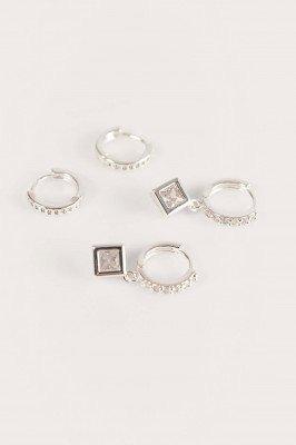 NA-KD Accessories NA-KD Accessories 2-Pack Verzilverde Oorringen - Silver