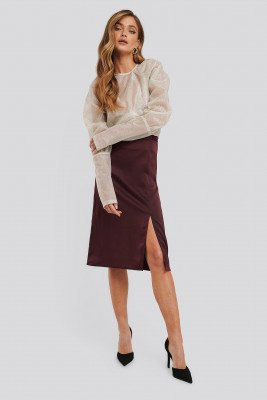 NA-KD Trend NA-KD Trend Front Slit Satin Skirt - Red