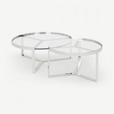 MADE.COM Aula Nesting salontafel, chroom en glas
