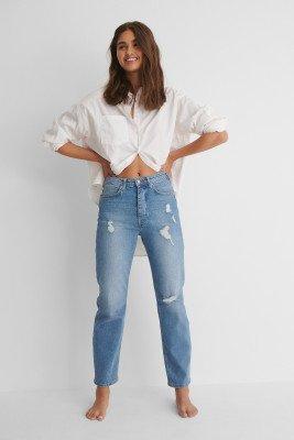 NA-KD Reborn NA-KD Reborn Organisch Versleten Jeans Met Hoge Taille - Blue