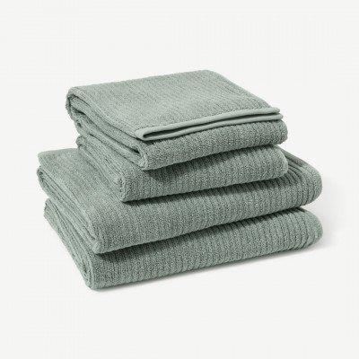 MADE.COM Ivo set van 4 handdoeken, 100% biologisch katoen, watergroen