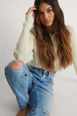 NA-KD Trend NA-KD Trend Organisch Slim Jeans Met Hoge Taille En Gescheurde Knieën - Blue