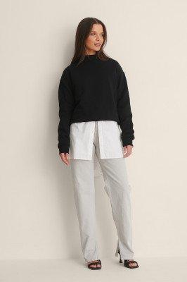 NA-KD Trend NA-KD Trend Organisch Jeans Met Zijsplit - Grey
