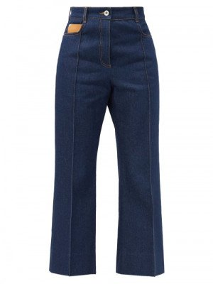 Matchesfashion Paco Rabanne - High-rise Pintucked Kick-flare Jeans - Womens - Denim
