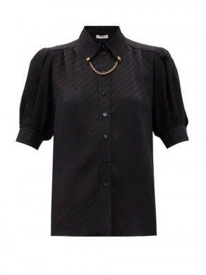 Matchesfashion Givenchy - Chain-collar Logo-jacquard Silk Blouse - Womens - Black