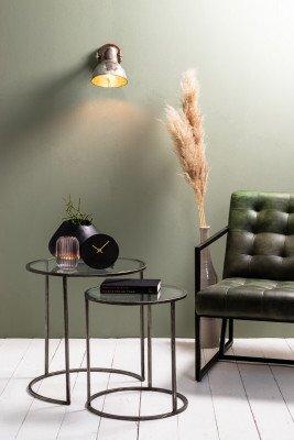 Light & Living Light & Living Bijzettafel 'Duarte' Set van 2 stuks, glas-vintage tin